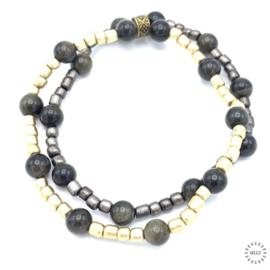 Obsidiaan enkelband 20 cm op elastiek