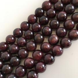 Granaat kralen rood 8 mm rond