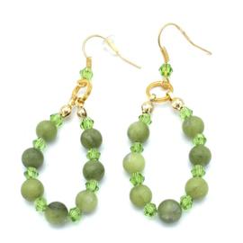 Jade groen oorbellen goudplated