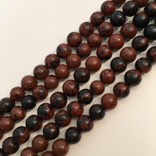 Obsidiaan Mahonie kralen 6 mm rond