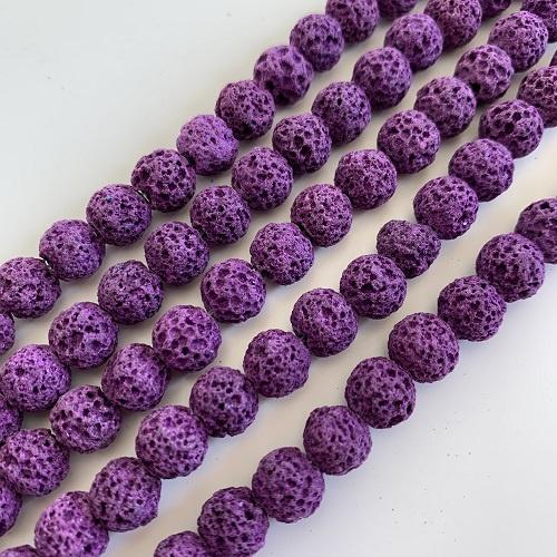 Lavasteen kralen paars 8 mm rond