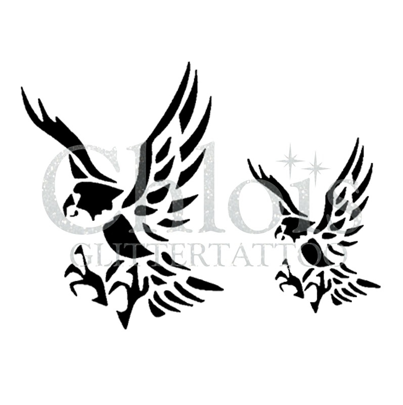Eagle (Duo Stencil)   Stencils Birds   Chloïs Glittertattoo