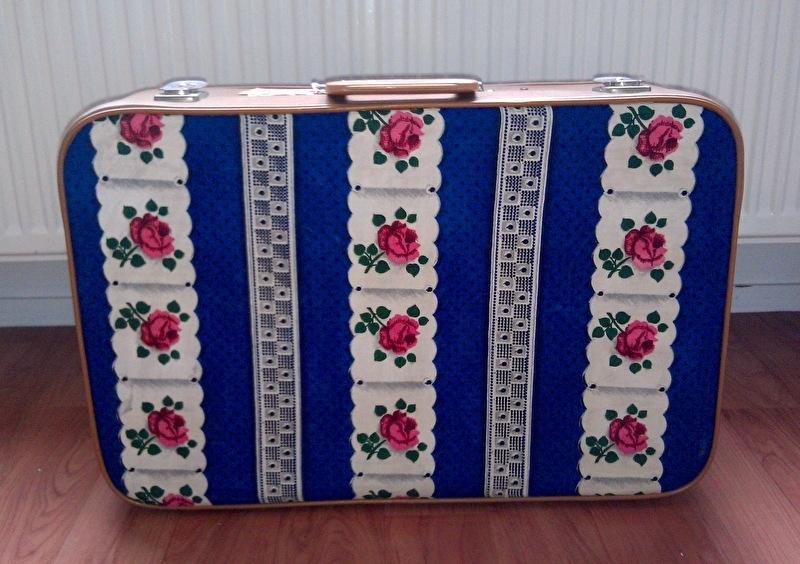 Retro koffer rozenstof