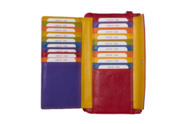 Lederen Burkely multi wallet groot rood extra pasjes