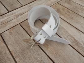 Lederen riem 4 cm wit
