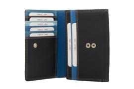 Lederen Burkely multi wallet v-model middel blauw