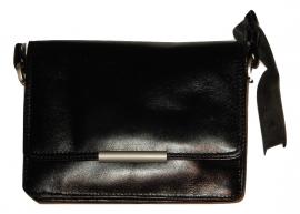 Lederen Luxe classic tas zwart middel