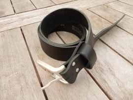 Lederen riem 4 cm zwart