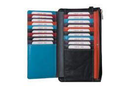 Lederen Burkely multi wallet groot zwart extra pasjes
