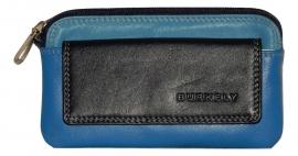 Lederen Burkely multicolor sleutelhouder blauw
