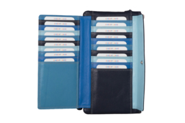 Lederen Burkely multi wallet groot blauw extra pasjes