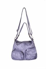 DSTRCT hobo tas twee vakken licht grijs/blauw
