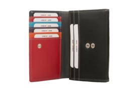 Lederen Burkely multi wallet v-model middel zwart