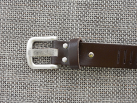 Lederen streepjes riem 3 cm bruin