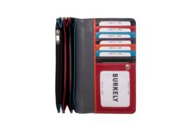 Lederen Burkely multi wallet Monica groot zwart