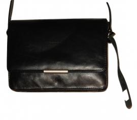 Lederen Luxe classic tas zwart klein