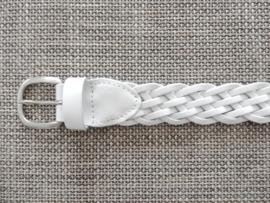 Lederen gevlochten riem 4cm wit