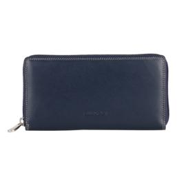 Lederen Burkely multi wallet groot blauw rits