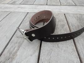Lederen riem 3 cm bruin met gaatjes
