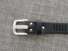 Lederen streepjes riem 3 cm zwart