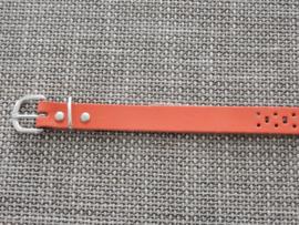 Lederen riem 2 cm met gaatjes oranje