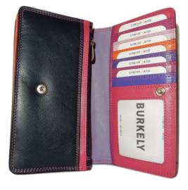 Lederen Burkely multi wallet Monica groot paars
