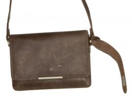 Lederen Luxe classic tas grijs klein