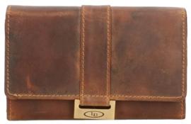Lederen Cognac portemonnee v-model