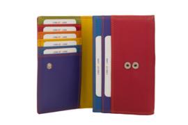 Lederen Burkely multi wallet v-model middel rood