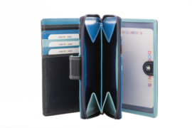 Lederen Burkely multi wallet rits blauw