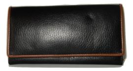 Lederen damesportemonnee v-model zwart bruine lijn