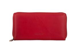 Lederen Burkely multi wallet groot rood rits