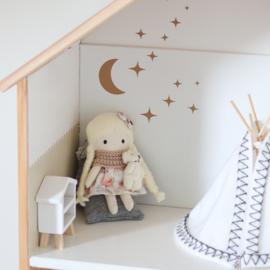 Poppenhuis stickers - Mini maan met fonkelende sterren
