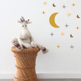 Muurstickers - Moons & stars combipack