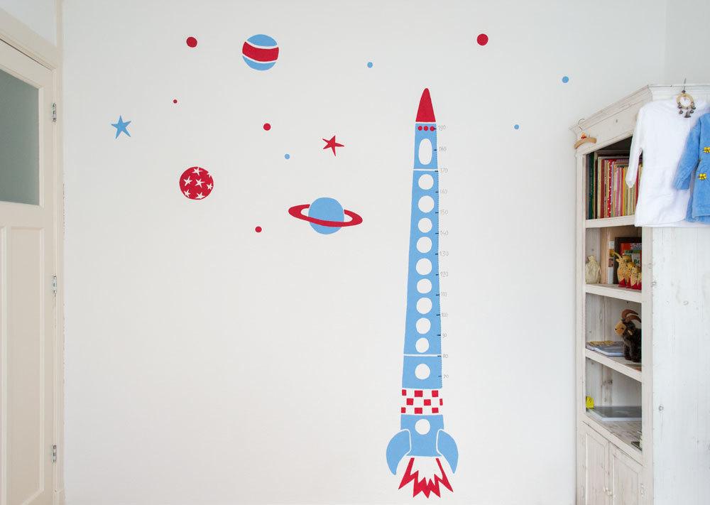muurschildering kinderkamer raket