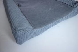 Aankleedkussenhoes - Basic pure oud blauw  wafel, oud blauw teddy