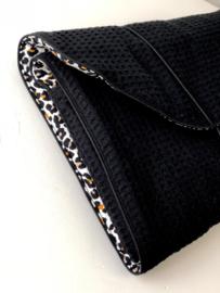 Luierenvelop  XL zwart wafel, oker panter