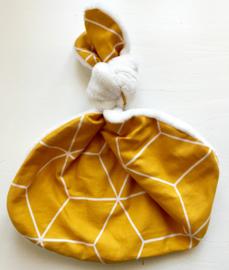Knoopkonijn -  Teddy creme/ Deco 3D oker