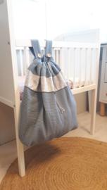 Boxzak oud blauw wafel/grey confetti