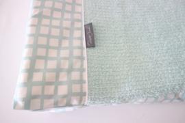 Aankleedkussenhoes -  Oud groen katoen raster