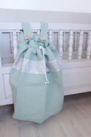 Boxzak, Wafel oud groen + grey confetti