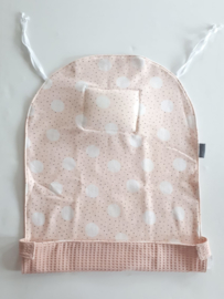 Doezeldoek, french terry pink dot/ wafel zalm