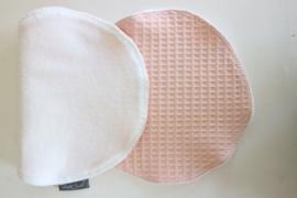Spuugdoek - Wafel oud roze/ badstof wit
