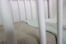 Bedsheet Cradle - cotton white/ cotton old green, gold spot - 90/90