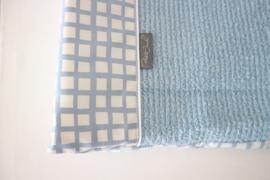 Aankleedkussenhoes -  Oud blauw raster