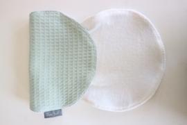 Spuugdoek - wafel oud groen/badstof wit