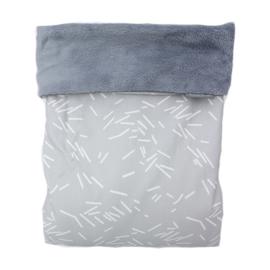 Stroller blanket - Grey confetti/Old blue teddy