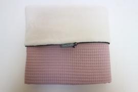 Stroller blanket - Old pink waffle/Cream teddy