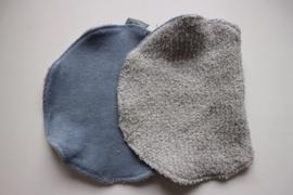 Spuugdoek - badstof grijs/ oud blauwe badstof