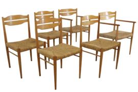 """Set van 6 eetkamerstoelen met rattan """"Flechtheims"""""""
